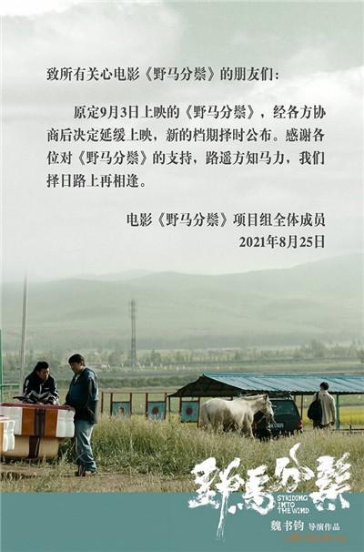 魏书钧执导电影《野马分鬃》延期上映