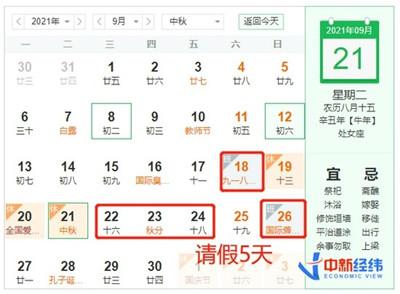 """中秋出游有航班价格比高铁便宜一半 国庆""""拼假""""可连休13天图1"""